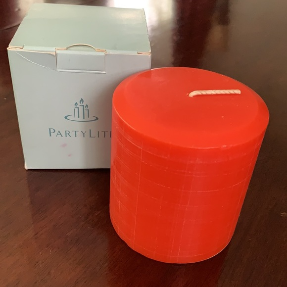 """Party Lite 3"""" orange pillar candle Tuscan Herbs"""